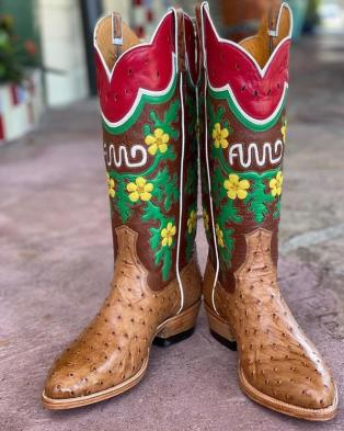 Emma designed and handmade the tops of this pair of boots.